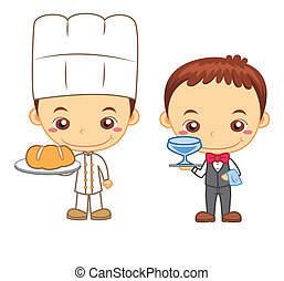 kids and jobs05 - A waiter and a baker isolated on white...