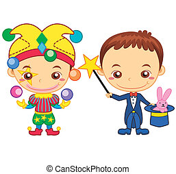 kids and jobs08 - A clown and a magician isolated on white...