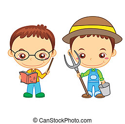 kids and jobs09 - A teacher and a farmer isolated on white...