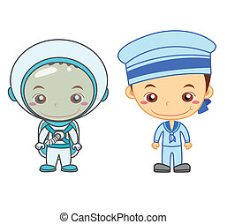 kids and jobs11 - An astronaut and a naval soldier isolated...