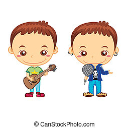kids and jobs14 - A celebrity and a guitarist isolated on...