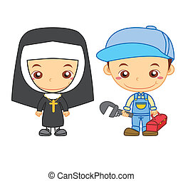 kids and jobs15 - A nun and a plumber isolated on white...