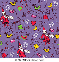 Christmas funny doodle seamless pattern
