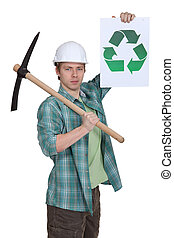 joven, albañil, Pico, actuación, reciclaje, logotipo