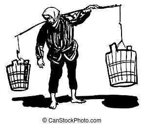 Woman carrying pails on the balance