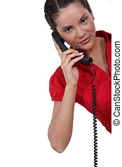 Young brunette over the phone.
