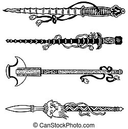 Chinese swords - Four old chinese swords