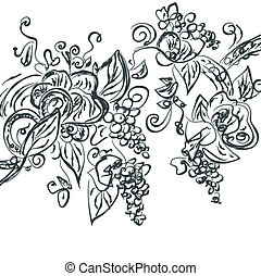 Floral hand drawn card with grape vine