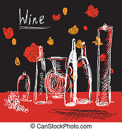 Wine background with bottles hand drawn