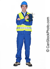 Construction worker with a jigsaw