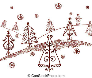 Christmas trees landscape graphic cartooon