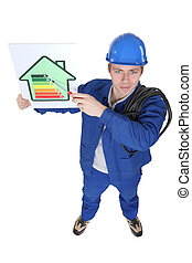 Electrician promoting energy savings.
