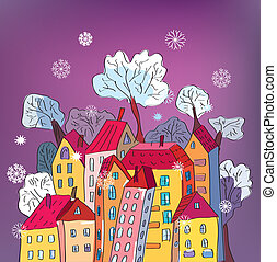 Christmas card with whimsical houses cartoon