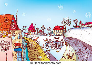 Christmas town scene painting with snow
