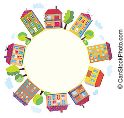 City houses in circle sign