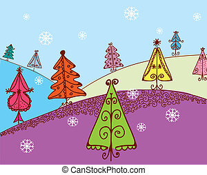 Christmas card with firs cartoon