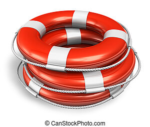 Stack of red lifesaver belts isolated on white background