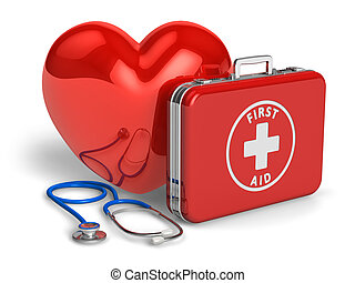 Medical assistance and cardiology concept: red heart, case...
