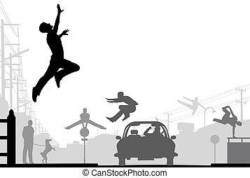Parkour - Editable vector silhouettes of men doing parkour...