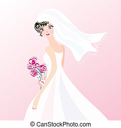 Bride on the pink background