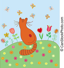 Cute card with cat and butterflies