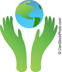 Protect the Earth - Ecologycal picture with two hands...
