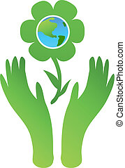 Eco flower - Symbolic ecologycal illustration with hands...