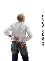 Middle-aged man has back pain. He keeps his back and can be...