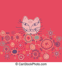 Funny card with cat and stylized flowers