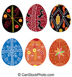 Set of traditional hand drawn easter eggs