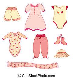 bébé, mignon,  girl,  collection, vêtements