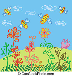 Summer scene with bees and flowers