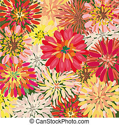 Bright floral background with big dahlia and chrysanthemum