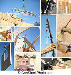 Collage of a building site