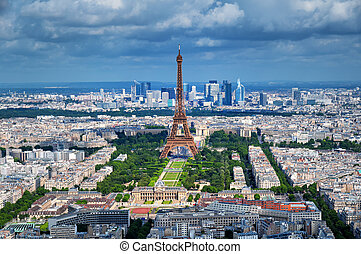 Eiffel Tower, Paris - France - Aerial view of Paris.