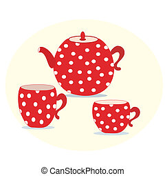 Set of red polka teapot and cups