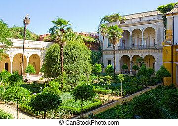 garden of Casa de Pilatos, Seville, Spain - Courtyard with...