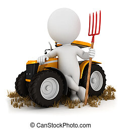 3d white people farmer with a tractor and a pitchfork,...