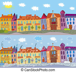 Cartoon town in summer and winter