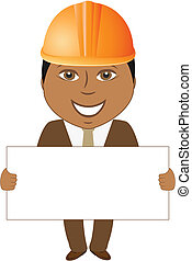 afro builder engineer with blank fo - cartoon smile afro...