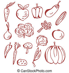 Hand drawn sketch of vegetables