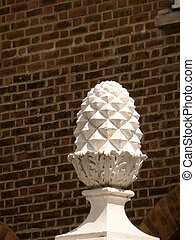 Pineapple Finial - White pineapple shaped finial / ornament...