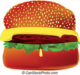 Cheeseburger - A cheeseburger with lettuce and a drop of...