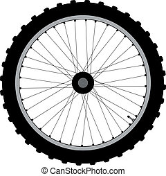 Bicycle Wheel - A bicycle wheel with knobly tyre and...