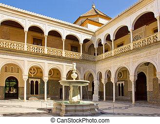 Casa de Pilatos, Seville, Andalusia, Spain - Courtyard with...