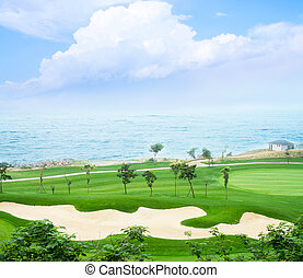 Golf course and sea