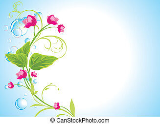 Drops and sprig with pink flowers on the abstract blue...