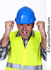 A furious construction worker
