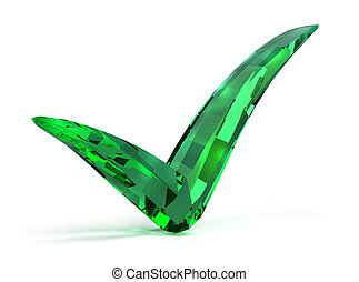 emerald checked 3d image Isolated white background