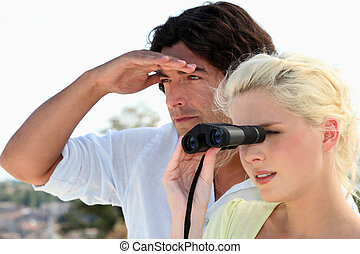 Couple birdwatching